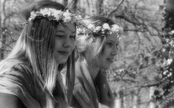 3 bosnimfen zwart wit
