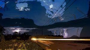 Thunder Road Lightning Storm Over Florida